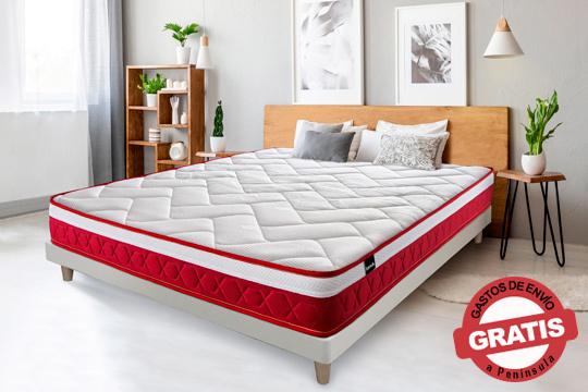Inmejorable colchón Tanuk Visco Red Velvet con componentes viscoelásticos de alta densidad y firmeza ¡Máxima transpiración, antibacterias y antiácaros!