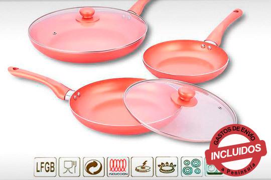 Cocina tus platos preferidos gracias a este completo set de sartenes de 5 piezas ¡Son antiadherentes y mantienen el calor!