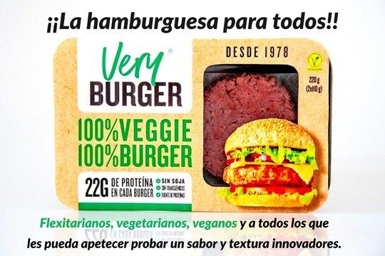 Hamburguesa  100% VEGANA análoga a carne basada en proteína de guisante, con mayor contenido en fibra, menos grasa, y 22 gr. de proteína por burger de 110 gr..