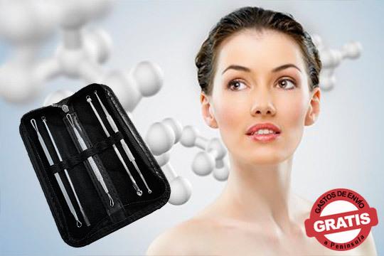 Estuche de extractores de espinillas y puntos negros ¡Eficaz en la eliminación de espinillas, puntos blancos, espinillas, imperfecciones...!