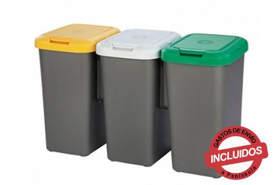 ¡Mantén el orden en tu casa y cuida la Naturaleza! 3 cubos de basura con capacidad para 25 litros