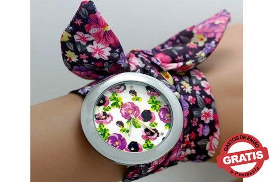 Reloj con correa de tela en forma de lazo para combinar con el estilo que quieras ¡Puedes elegir entre 4 estampados!