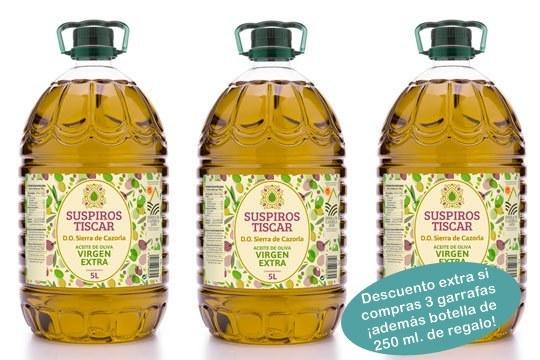 Garrafas Aceite de Oliva Virgen Extra, extraído en frío. Se obtiene de olivos ubicados en el entorno natural de la Sierra de Cazorla y durante la recolección se evita en todo momento el contacto directo de la aceituna con el suelo ¡Envío incluido!
