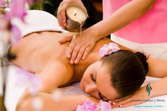 Masaje relajante con velas en Confort Cuerpo y Mente ¡Tú eliges, 25 o 45 minutos de relajación!