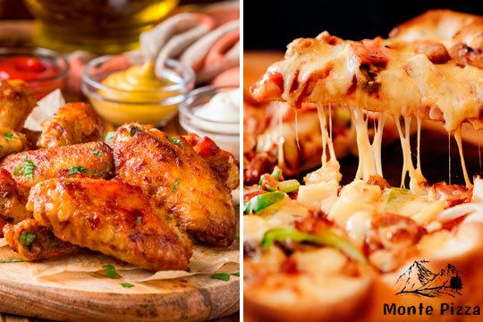 ¡Menú de pizza para 2! Ensalada, ración, pizza, bebida y más