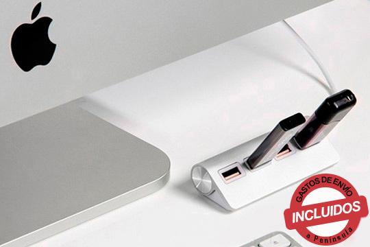 Amplía los puertos USB de tu ordenador con este USB Hub con 4 puertos y protección a sobrecargas ¡De diseño elegante!