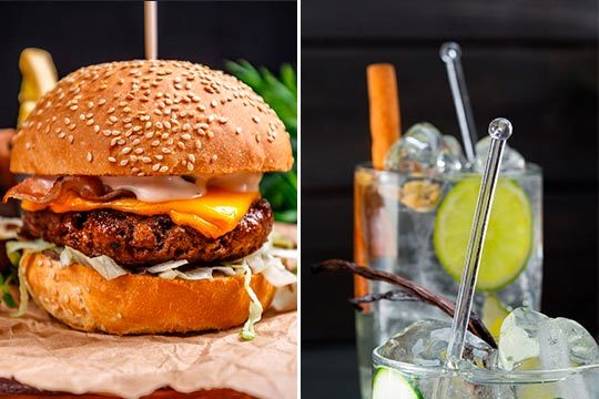 Menú para 2 personas con ración a elegir + bocadillo o hamburguesa + 2 bebidas ¡Complétalo con postres, cafés y/o cocktails!