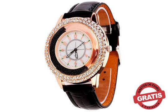 Reloj Quicksand Crystals Leather inspirado en los relojes de línea masculina con grande esfera ¡Elegante en todas las situaciones!