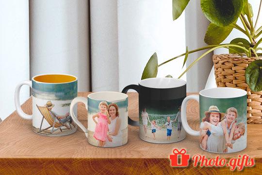 ¡Tazas individuales con tu foto favorita impresa! Elige el modelo mágico y la foto aparecerá una vez que el recipiente entre en contacto con calor