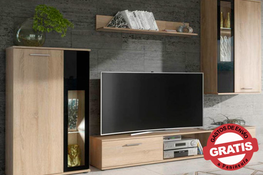 ¡Decora tu salón con el mobiliario más moderno! Precioso mueble en sonoma o blanco mate con cristal negro