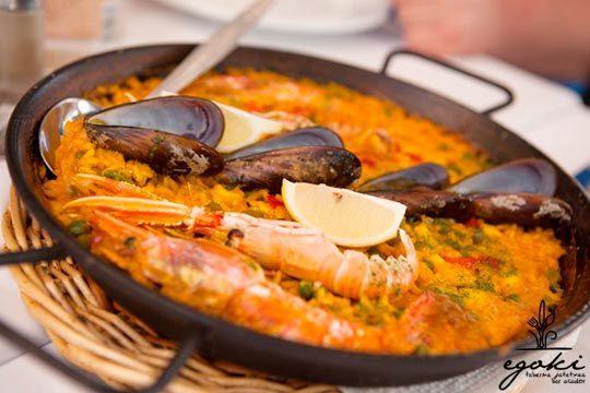 Menú arrocero: paella de marisco o arroz caldoso (Zarautz)