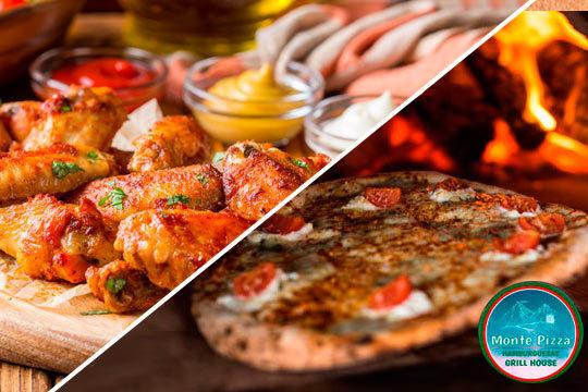 Entrante + principal al grill o pizza + bebida