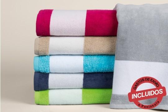 Elige tu toalla de playa para este verano, aprovecha la oferta de 1 ó 2 fabricadas en algodón terciopelo ¡Varios colores!