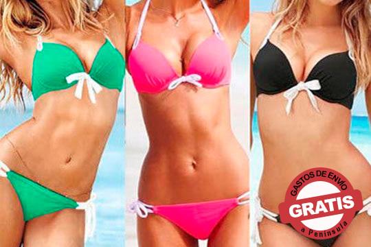 Presume de figura este verano con el Bikini Push Up en rosa, verde o negro ¡Se adapta a la perfección a tus curvas!