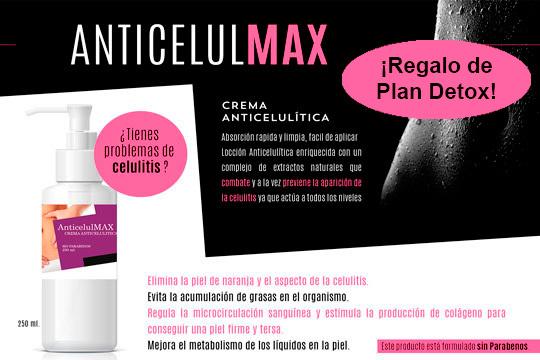 Combate la celulitis y la piel de naranja con la efectiva crema Anticelulmax ¡Por la compra de 1 unidad te regalamos un plan detox de 12 días!