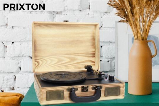 Dale un toque retro a la música que escuchas con este tocadiscos de la marca Prixton