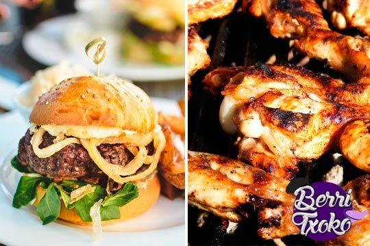 Menú de hamburguesa con patatas y bebida ¡Añade croquetas o alitas!