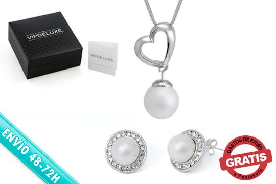 ¡Acierta estas Navidades con el regalo! Conjunto Venecia con perla blanca y cristales de Swarovski