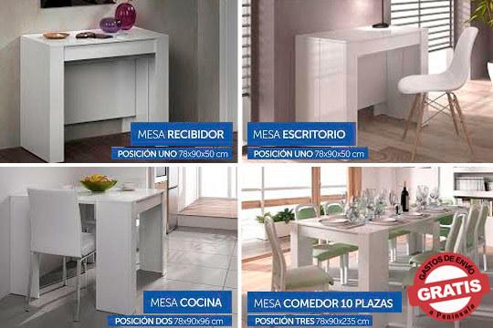 Mueble 2 en 1: consola y mesa extensible de comedor para hasta 14 comensales ¡Organiza tus cenas sin miedo al espacio!