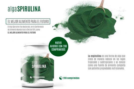 Cuídate y siéntete mejor con 1 o 2 unidades de alga Spirulina, un suplemento alimenticio que ayuda a mejorar el equilibrio nutricional, incrementa la energía y controla el peso ¡Elige entre envío ordinario o exprés!