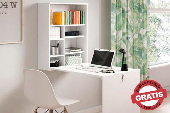 ¡Consigue un funcional escritorio ocupando poco espacio! Escritorio plegable de pared con librería en precioso color blanco