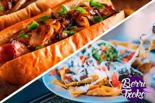 Disfruta de un riquísimo menú con nachos, 2 perritos calientes y 2 bebidas en Berri Txoko ¡Perfecto para invitar a quien quieras!