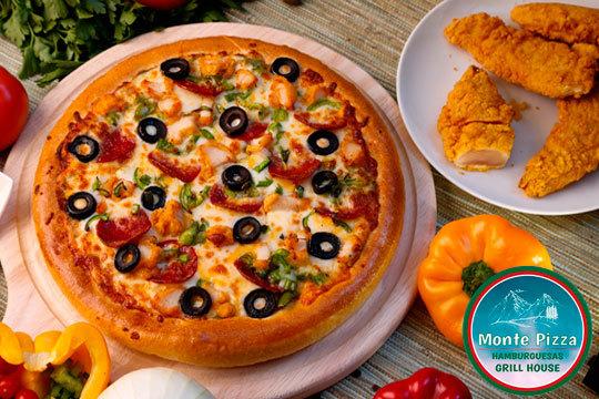 Ensalada + Crispy Chicken + Pizza + Bebida ¡Nueva apertura!
