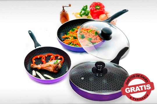 Cocina deliciosas recetas con este juego de 3 sartenes Netpan y 2 tapas ¡Ahorran energía y aceite!