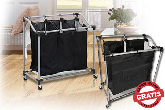 ¡La solución más práctica para mantener tu estancia en orden! Carrito de ropa sucia de 2 o 3 bolsas, ruedas y de fácil transporte