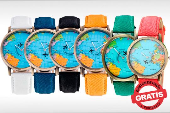 Si estás cansado de relojes aburrido con el modelo Global Travel Watches acertarás seguro ¡Divertida esfera para que las horas pasen más rápido!