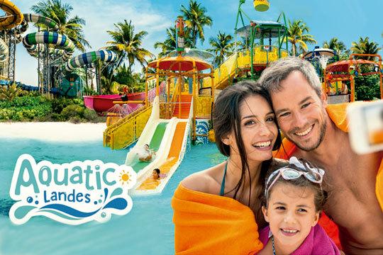 Disfruta de un día lleno de diversión en Aquatic Landes ¡Este año, inauguran nuevas atracciones: playa artificial, zona de bar, restaurante y muchas más sorpresas!