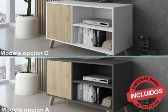El tamaño en combinación con la funcionalidad y el diseño, hacen que el mueble TV 100 WIND sea elegante e ideal para colocar su salón.