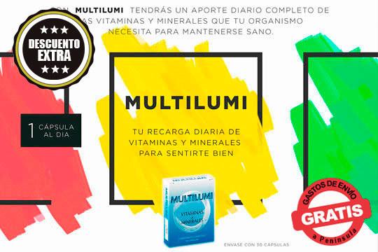 Recarga tu energía gracias a las vitaminas y minerales que te aporta Multilumi ¡Compra 2 unidades y recibirás otras 2 de regalo!