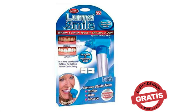 Elimina las manchas de los dientes producidas por el tabaco, café o vino con Luma Smile ¡Funciona como un cepillo de dientes eléctrico!