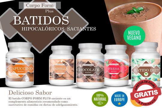 ¡Empieza a cuidarte con los batidos Corpoform Plus! 1 o 2 unidades de chocolate, fresa, café, vainilla u opción vegana
