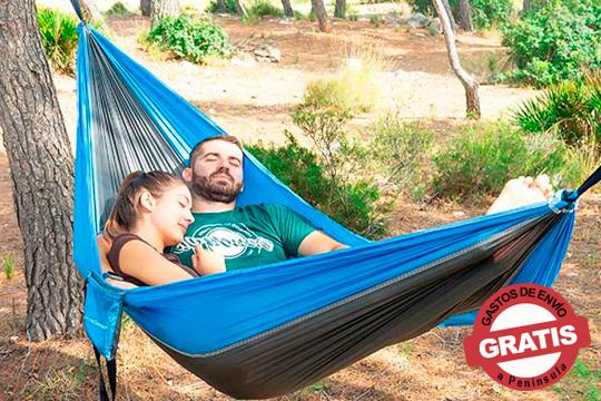 Hamaca para dos personas con diseño moderno, ligero y funcional ¡Tus escapadas de camping ya no serán lo mismo!