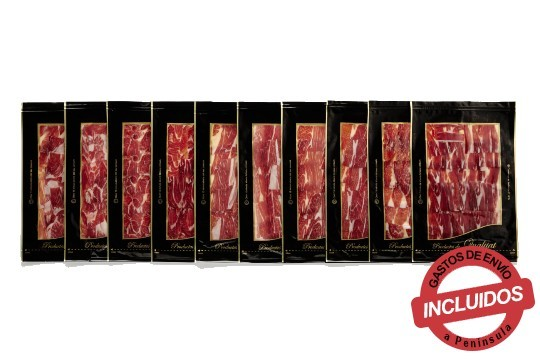 Escoge entre 3, 5, 10, 20 o 30 sobres de 100 gramos de auténtico jamón ibérico de bellota ¡Símbolo de lo exquisito!