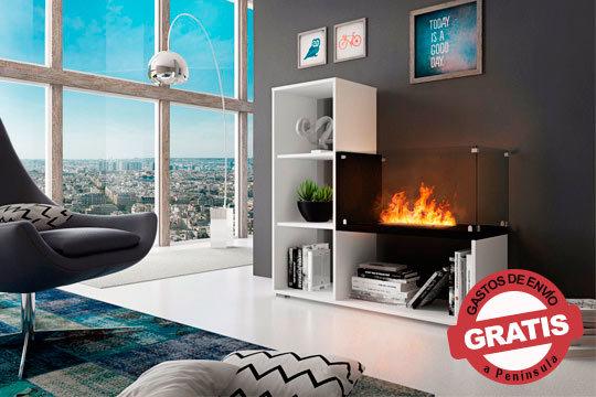 Estantería con chimenea de Bioetanol integrada ¡Mantén tu hogar caliente con un toque de diseño!