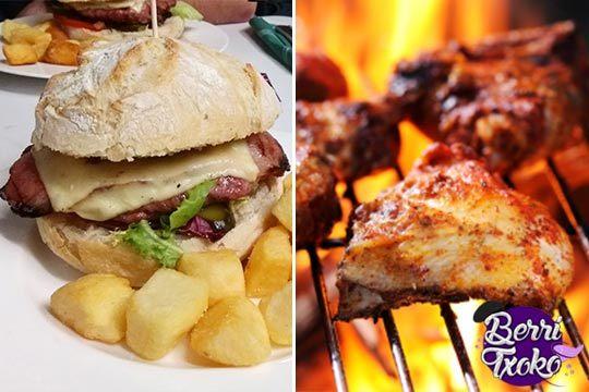 Menú de hamburguesa + alitas de pollo + patatas + bebida