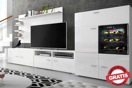 Da un toque de elegancia a tu hogar con este salón con vinacoteca integrada en blanco o negro ¡Todo un lujo en tu casa!