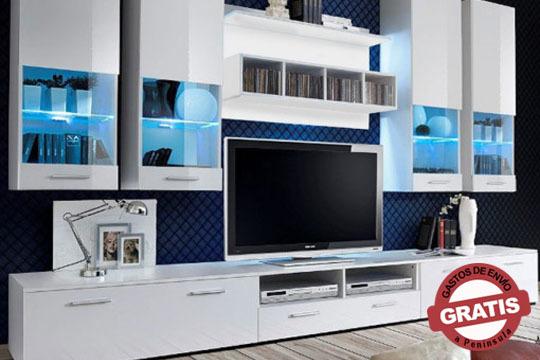 Dale un estilo más fresco a tu casa con este Mueble de salón Aviona de color blanco, negro o combinado