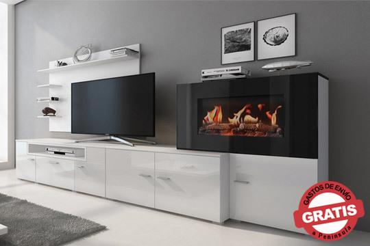 Fantástico set de muebles para el salón con posibilidad de colocar la chimenea en el lado derecho o izquierdo del conjunto ¡Y mando adistancia para regular la temperatura!