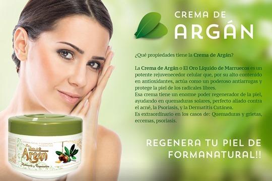 Crema facial-corporal hidratante y especialmente indicada para atenuar manchas de la piel y evitar las arrugas, elaborada con aceite virgen de argán.