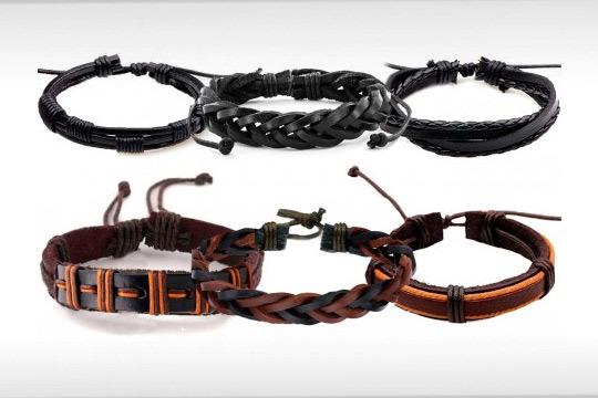 30f25e77cd96 Yepko - Set de 6 pulseras de cuero para hombre ¡En varios diseños ...